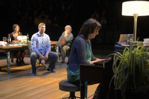 Dina Thomas, Russell Harvard, Jeff Still and Meghan O'Neill, left to right, in La Jolla Playhouse Tribes. Kevin Berne Photo