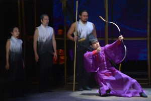 Julyana Soelistyo, Stan Egi, Orville Mendoza and Daisuke Tsuji, left to right, in The Orphan os Zhao at La Jolla Playhouse.