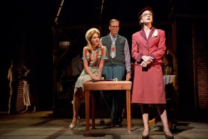 Kate Loprest, Jeff Hiller and  Carmen Cusack, left to right,  in the Old Globe Theatre's Bright Star.