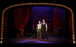 Ian Lowe, left, and Joe Kinosian in the Old Globe Theatre's Murder For Two. Joan Marcus Photo