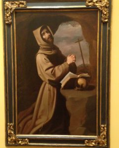 St. Francis in Prayer in a Grotto, 1655, by Francisco Zurbarán [San Diego Museum of Art, gift of Conrad Prebys & Debbie Turner]