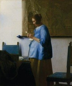 "Johannes Vermeer, ""The Woman in Blue Reading a Letter,"" about 1663-64. Oil on canvas, 18 5/16 x 15 3/8-inches (49.6 x 40.3 cm). Rijksmuseum, Amsterdam. On loan from the City of Amsterdam (A. van der Hoop Bequest). Image: Rijksmuseum, Amsterdam."