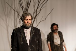 Vladimir (Tom Steward, left) looks forlorn amid Godot's absence; Estragon (Joe Powers) just looks tired.